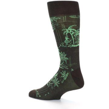 Image of Brown Green Tropical Men's Dress Socks (side-2-13)
