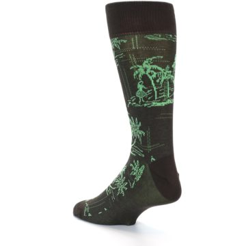 Image of Brown Green Tropical Men's Dress Socks (side-2-back-14)