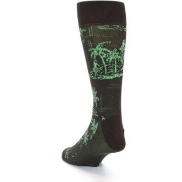 Image of Brown Green Tropical Men's Dress Socks (side-2-back-15)