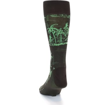 Image of Brown Green Tropical Men's Dress Socks (side-2-back-16)
