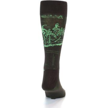 Image of Brown Green Tropical Men's Dress Socks (back-18)