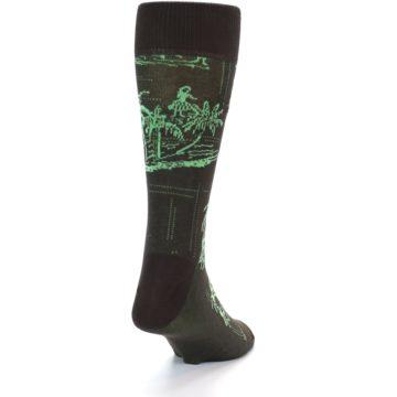 Image of Brown Green Tropical Men's Dress Socks (back-19)
