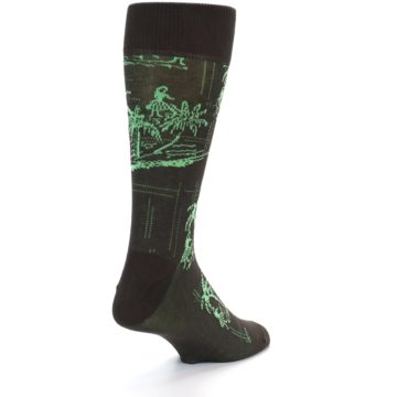 Image of Brown Green Tropical Men's Dress Socks (side-1-back-20)