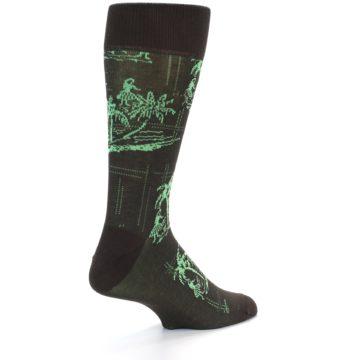 Image of Brown Green Tropical Men's Dress Socks (side-1-back-21)