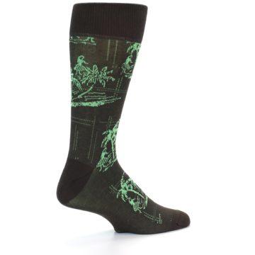 Image of Brown Green Tropical Men's Dress Socks (side-1-back-22)