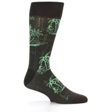 Image of Brown Green Tropical Men's Dress Socks (side-1-24)