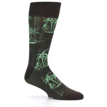 Image of Brown Green Tropical Men's Dress Socks (side-1-25)