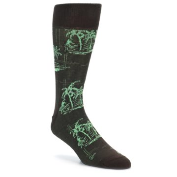 Image of Brown Green Tropical Men's Dress Socks (side-1-27)