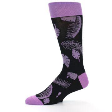 Image of Black Purple Tropical Leaves Men's Dress Socks (side-2-10)