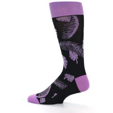 Image of Black Purple Tropical Leaves Men's Dress Socks (side-2-12)