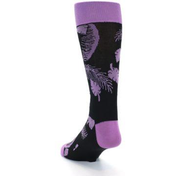 Image of Black Purple Tropical Leaves Men's Dress Socks (side-2-back-15)