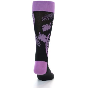 Image of Black Purple Tropical Leaves Men's Dress Socks (back-18)