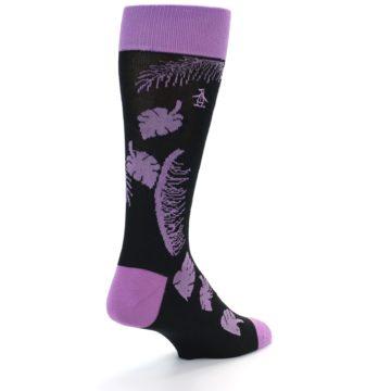 Image of Black Purple Tropical Leaves Men's Dress Socks (side-1-back-20)