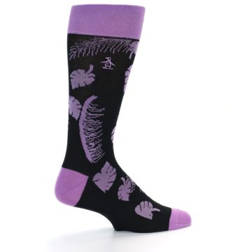 Image of Black Purple Tropical Leaves Men's Dress Socks (side-1-back-22)