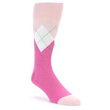 Image of Pinks White Argyle Men's Dress Socks (side-1-front-01)