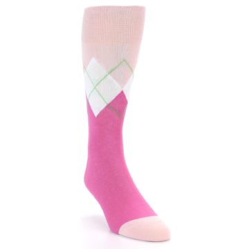 Image of Pinks White Argyle Men's Dress Socks (side-1-front-02)