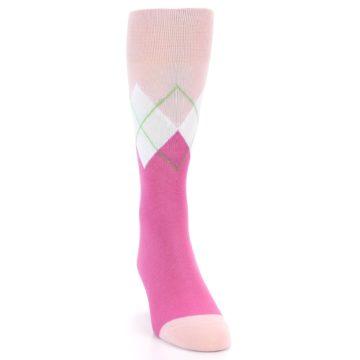 Image of Pinks White Argyle Men's Dress Socks (side-1-front-03)