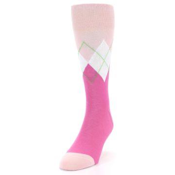 Image of Pinks White Argyle Men's Dress Socks (side-2-front-06)