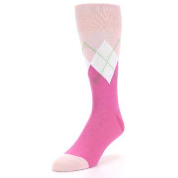 Image of Pinks White Argyle Men's Dress Socks (side-2-front-07)