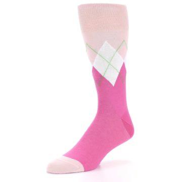 Image of Pinks White Argyle Men's Dress Socks (side-2-front-08)