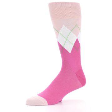 Image of Pinks White Argyle Men's Dress Socks (side-2-09)