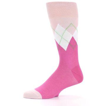 Image of Pinks White Argyle Men's Dress Socks (side-2-10)