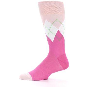 Image of Pinks White Argyle Men's Dress Socks (side-2-11)