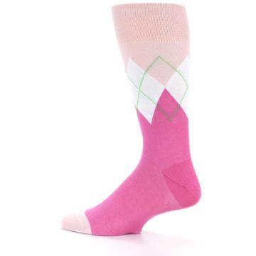 Image of Pinks White Argyle Men's Dress Socks (side-2-12)