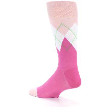 Image of Pinks White Argyle Men's Dress Socks (side-2-13)