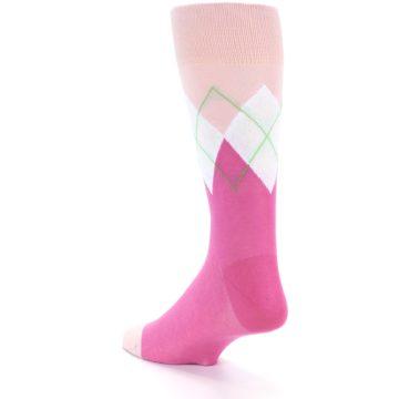 Image of Pinks White Argyle Men's Dress Socks (side-2-back-14)