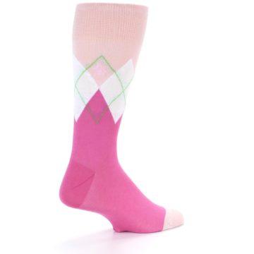 Image of Pinks White Argyle Men's Dress Socks (side-1-back-21)