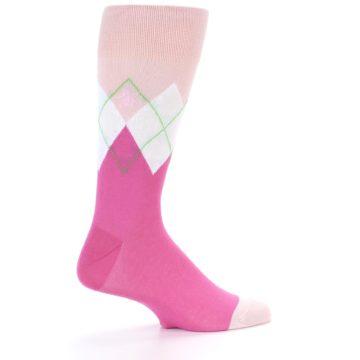 Image of Pinks White Argyle Men's Dress Socks (side-1-back-22)