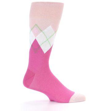 Image of Pinks White Argyle Men's Dress Socks (side-1-23)