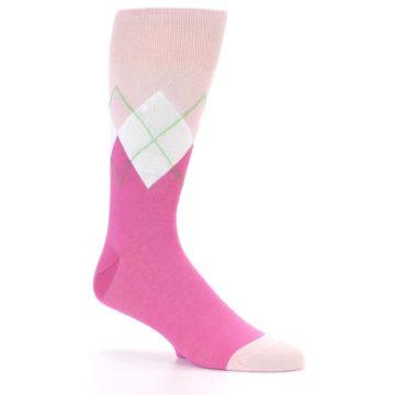 Image of Pinks White Argyle Men's Dress Socks (side-1-25)
