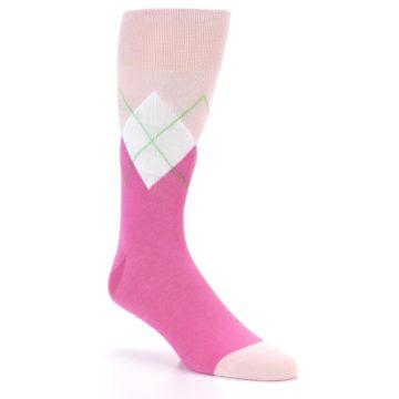 Image of Pinks White Argyle Men's Dress Socks (side-1-26)