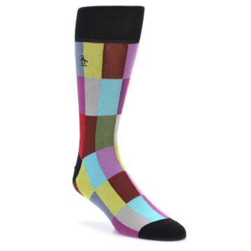 Image of Black Multi Checkered Men's Dress Socks (side-1-front-01)