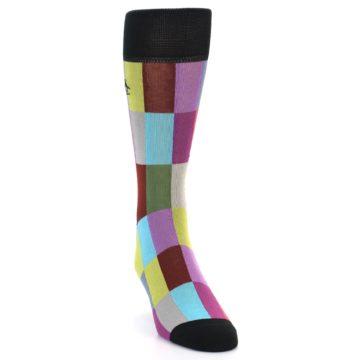 Image of Black Multi Checkered Men's Dress Socks (side-1-front-03)