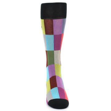Image of Black Multi Checkered Men's Dress Socks (front-04)