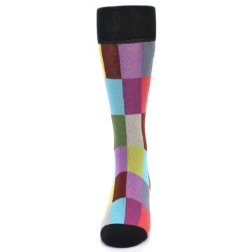 Image of Black Multi Checkered Men's Dress Socks (front-05)
