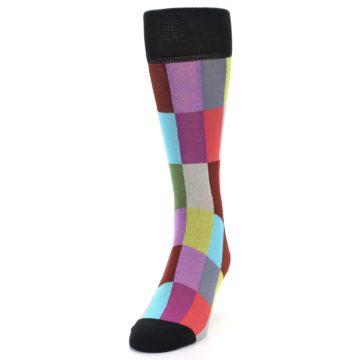 Image of Black Multi Checkered Men's Dress Socks (side-2-front-06)