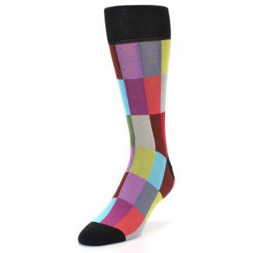 Image of Black Multi Checkered Men's Dress Socks (side-2-front-07)