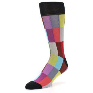 Image of Black Multi Checkered Men's Dress Socks (side-2-front-08)