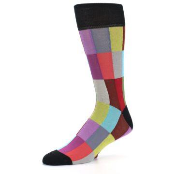 Image of Black Multi Checkered Men's Dress Socks (side-2-09)