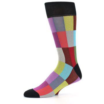 Image of Black Multi Checkered Men's Dress Socks (side-2-10)