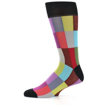 Image of Black Multi Checkered Men's Dress Socks (side-2-11)
