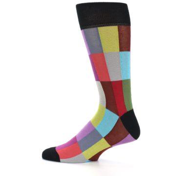 Image of Black Multi Checkered Men's Dress Socks (side-2-12)
