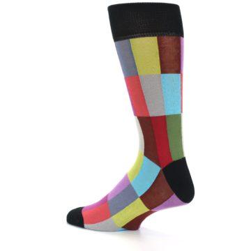 Image of Black Multi Checkered Men's Dress Socks (side-2-13)