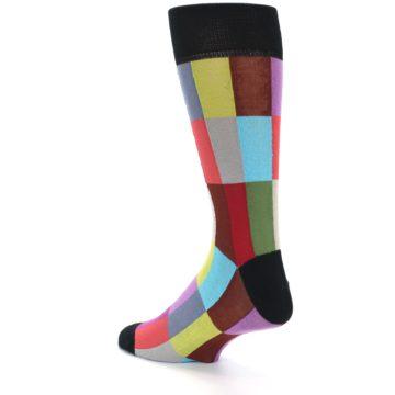 Image of Black Multi Checkered Men's Dress Socks (side-2-back-14)