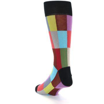 Image of Black Multi Checkered Men's Dress Socks (side-2-back-15)