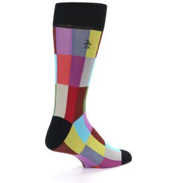 Image of Black Multi Checkered Men's Dress Socks (side-1-back-21)